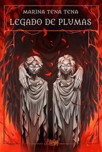 Portada de Legado de plumas. Dos niños de piedra con unas manos sobre los hombros y rodeados de fuego.