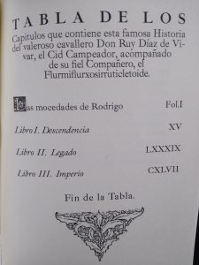 Índice de Las mocedades de Rodrigo al estilo medieval